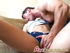 Blonde is anal fucked upside down