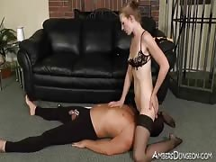 Blonde Polish Femdom takes sissy for a ride
