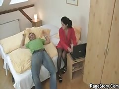He makes her ride his cock after deepthroat