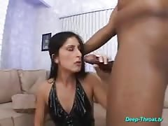 Nasty babe deepthroating hard two big cocks for cum