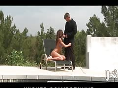 Sun tanning beauty Aleksa Nicole is double penetrated by the pool