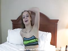 forcing big black dildo in her tiny pussy stretched to the max