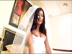 Eva Angelina in stocking forces you to lick her feet and ass after marrying