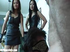 Asian Mistresses Force 3 Slaves Bi
