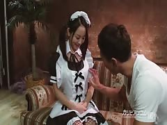 innocent looking busty maid offered breast feeding