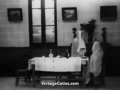 Lesbian Nuns Servicing Visitor's Cock 1920s (1920s Vintage)