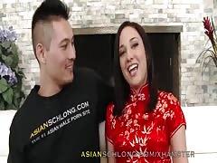 chinese stud Jeremy Long pounds White chick Amara Romani AMWF AMX