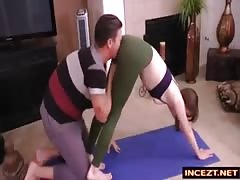 yoga lesson with step-sister
