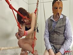 Dominatrix gets destroyed 2: brutal cunt suspension with ass to mouth
