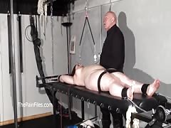 Nipple tortured crying fat slaveslut on punishment rack is whipped and tort