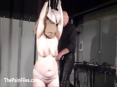 Bagged bbw in extreme breast whipping and tit torture of crying amateur sub