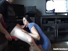 Big Tit Brunette Young MILF Sucks & Rides Cock On Chair Then Swallows Cum
