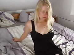 Sexy girl white stockings bald cunt is creampied