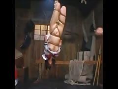 Breast Flogging an Upside-down Japanese JK to Orgasm