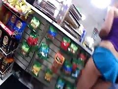 Butt cheeks in blue shorts