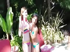 Poolside party girls take turns sucking security guards cock