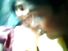 Indian guy play with his gf in bus