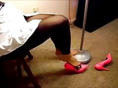 Footless Tights Posing Sneakers Heels Feet Pantyhose 1