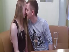 Pussy and mouth of hot Monika filled with sex stranger cock