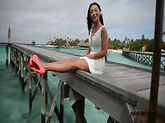 cute girl teasing walking & upskirt in high heels maldives