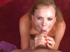 Nasty blonde MILF gives her man a handjob and fuck