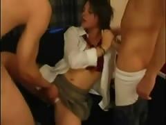 Schoolgirl Double Cock Duty