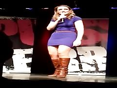 Carolin Kebekus Pussy Terror Purple Mini Boots Upskirt Stage