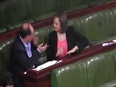 She touches her cunt when speaking with a man