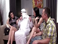 Arab mistress cuckolds arab husband slave