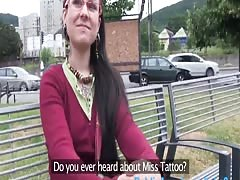PublicAgent Lulu is covered in tattoo and gets pussy full of cum