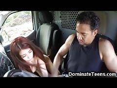Helpless Teen Throated in a Van!