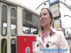 PublicAgent Bibi fucks a stranger outside for a free rail card