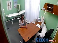 Czech Patients bad back doesn't stop the doctor bending her over the table