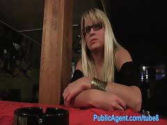 PublicAgent Blonde waitress fucks customer in staff toilets