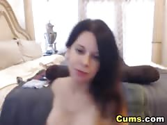 Busty Lady Strips and Masturbates