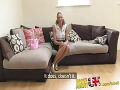 FakeAgentUK Ebony fresh MILF fucks and cums all over casting couch