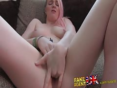 FakeAgentUK Squirting action on casting couch for blonde British amateur