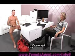 FemaleAgent. Shy stud needs help from agent