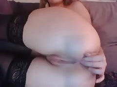 Girl uses toy and fingers in her asshole