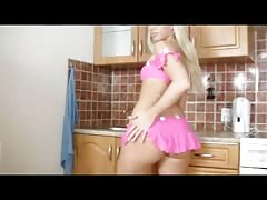 Blond princess fingering herself in her kitchen