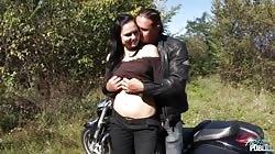 MyFirstPublic - Dirty talking teen drilled hard in public byy muscle biker
